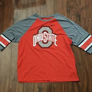 Women's Nike XXL 3/4 length Ohio State t-shirt Red